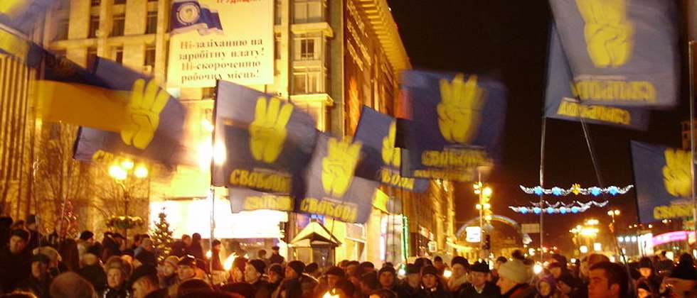 Svoboda supporters rally in Veresnya ( Wikimedia Commons )