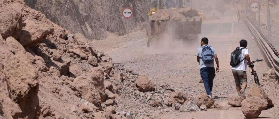 Une route bloquée par un éboulement à la suite du séisme qui a secoué le Chili, le 2 avril 2014 ( Aldo Solimano (AFP) )