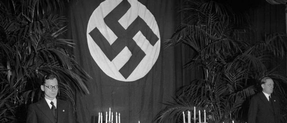 The Nazi flag-draped coffin of German diplomat Ernst Vom Rath at the German embassy in Paris during his funeral on November 12, 1938 ( AFP/File )