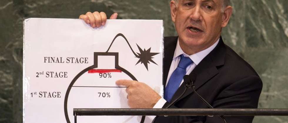 Israeli PM Benjamin Netanyahu describes Iran's alleged nuclear weapon plans at the UN in New York, on September 27, 2012 ( Don Emmert (AFP/File) )