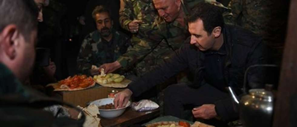 President Bashar al-Assad visits soldiers, New Year's Eve, 2015