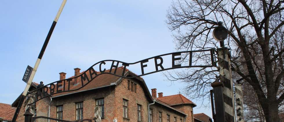Professor Mohammed Dajani at the entrance to Auschwitz ( Courtesy )