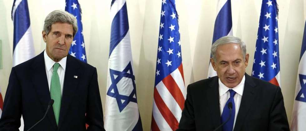 US Secretary of State John Kerry attends a press conference with Israeli Prime Minister Benjamin Netanyahu, July 23, 2014 ( LARRY DOWNING/AFP/Getty Image )