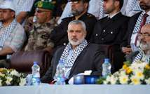 Ismail Haniya attends a Palestinian Hamas police graduation ceremony in Deir al-Balah in the central Gaza Strip, on May 28, 2013 ( Said Khatib (AFP/File) )