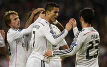 Real Madrid players celebrate after scoring a goal during their UEFA Champions League group B football match against Liverpool FC in Madrid on November 4, 2014 (Javier Soriano (AFP))