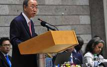 UN Secretary General Ban Ki-moon, seen here on October 30, 2014 at the UN complex in Nairobi, urged men and boys to join the fight against female genital mutilation ( Simon Maina (AFP) )