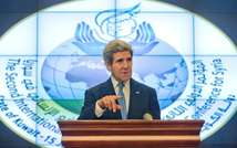 US Secretary of State John Kerry speaks during a press conference on the sidelines of the Syria Donors' Conference in Kuwait City, on January 15, 2014  ( Pablo Martinez Monsivais (Pool/AFP) )