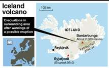 Map of Iceland showing the location of the Bardarbunga volcano where resients have been evacuated after warnings of a possible eruption ( AFP )