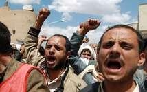 """Des chiites """"houthis"""" manifestent pour la démission du gouvernement, le 1er septembre 2014 à Sanaa (Mohammed Huwais  (AFP))"""