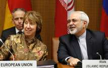 EU foreign policy chief Catherine Ashton (L) and Iranian Foreign Minister Javad Mohammad Zarif attend the so called EU 5+1 Talks with Iran at the UN headquarters in Vienna, on May 14, 2014 ( Dieter Nagl (AFP) )