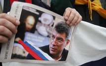 Marchers rally in memory of murdered Kremlin critic Boris Nemtsov in Vilnius, Lithuania, on March 1, 2015 (Petras Malukas (AFP))