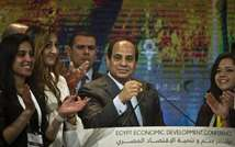 Egyptian President Abdel-Fattah al-Sisi (C) gestures as he gives a speech at the end of the Egypt economic development conference at the congress hall in the Red Sea resort of Sharm el-Sheikh on March 15, 2015 (Khaled Desouki (AFP))