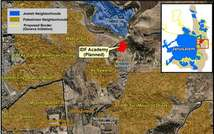 Map showing location of planned military colleges on Mt. Scopus ( Peace Now )