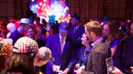 credits/photos : US Ambassador to Israel Dan Shapiro (C) plays some election themed games with voters at the 2016 US Embassy election party in Tel Aviv