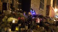 credits/photos : Wreaths laid at the door of Leonard Cohen's old Montreal address