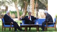 credits/photos : President George W. Bush, center, discusses the Middle East peace process with Prime Minister Ariel Sharon of Israel, left, and Palestinian President Mahmoud Abbas in Aqaba, Jordan, 4 June 2003.