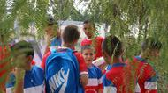credits/photos : Boys get ready for their first game at the Soccer for Peace summer camp