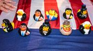 credits/photos : Collectible president ducks were given away as game prizes at the US embassy election party in Tel Aviv on November 8, 2016