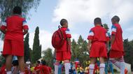 credits/photos : Young Arab and Jewish boys participating in the Soccer for Peace summer camp 2016 prepare for their first training session
