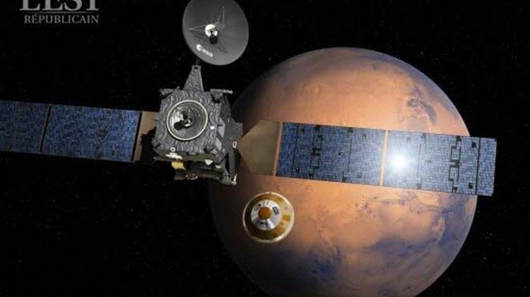 Une représentation de la mission ExoMars, partie à la recherche des indices d'une vie microbienne sur la planète Mars.
