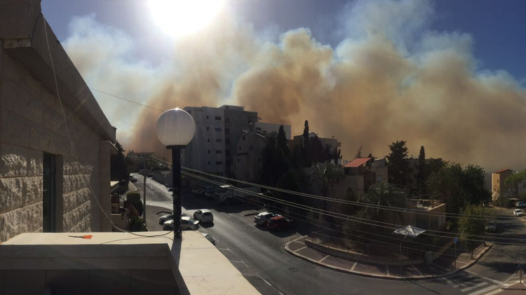 Smoke from the Haifa fires as seen from the Kababir neighborhood