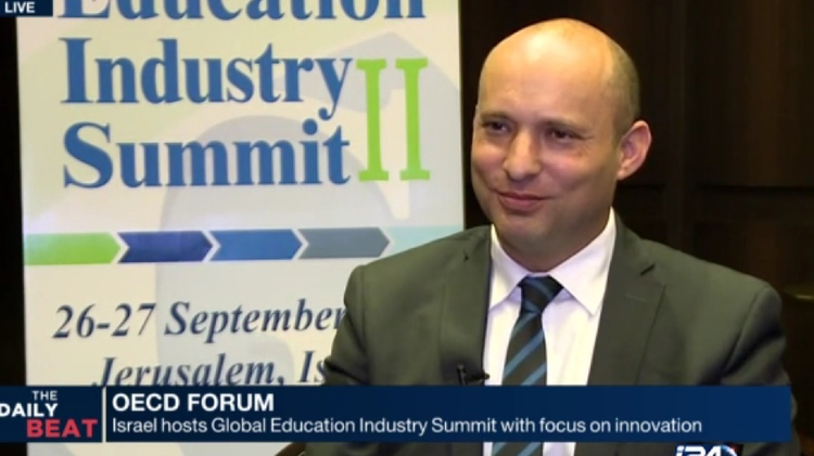Israel's Education Minister Nathtali Bennett speaking to i24news at OECD's education summit in Jerusalem