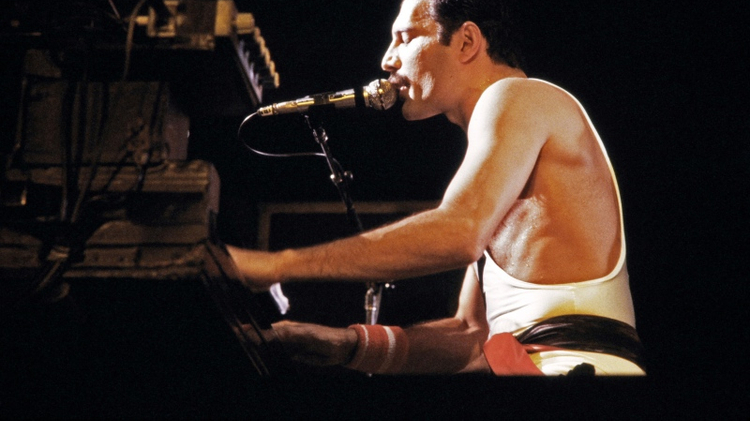 The rockstar Freddie Mercury, lead singer of the rock group Queen, during a concert in Paris, France, in September 1984.