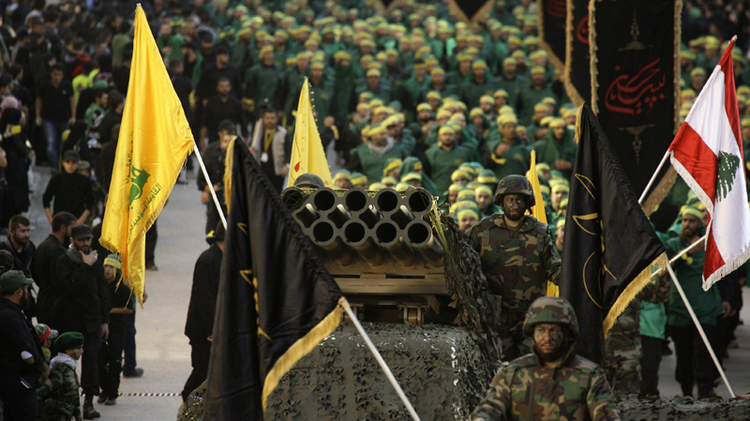 Hezbollah fighters during a rally
