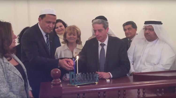 Rabbi Levin And Imam Hassan Chalghoumi Light Hanukkah Candles At The Manama Synagogue In Bahrain Screenshot