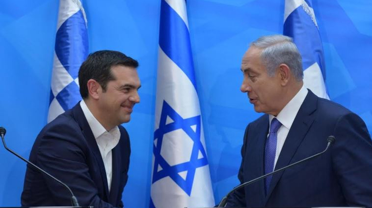 Prime Minister Benjamin Netanyahu (L) and Greek Prime Minister Alexis Tsipras, November 25, 2015