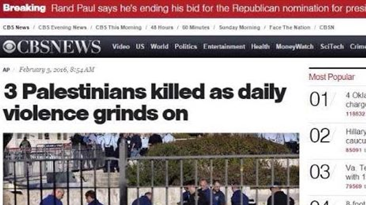 CBS News headline for Jerusalem attack