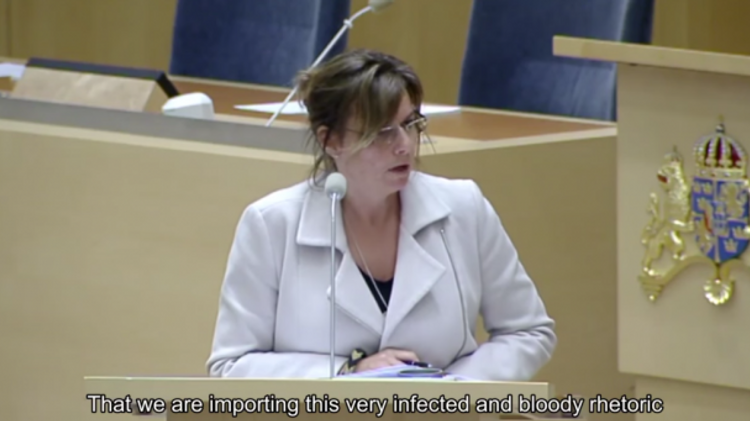 Isabella Lövin, Swedish Minister for International Development Cooperation, during a parliamentary debate on Stockholm's aid to Ramallah, March 4 2016