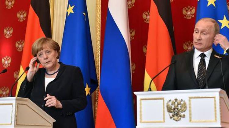 Angela Merkel et Vladimir Poutine à Moscou en mai 2015