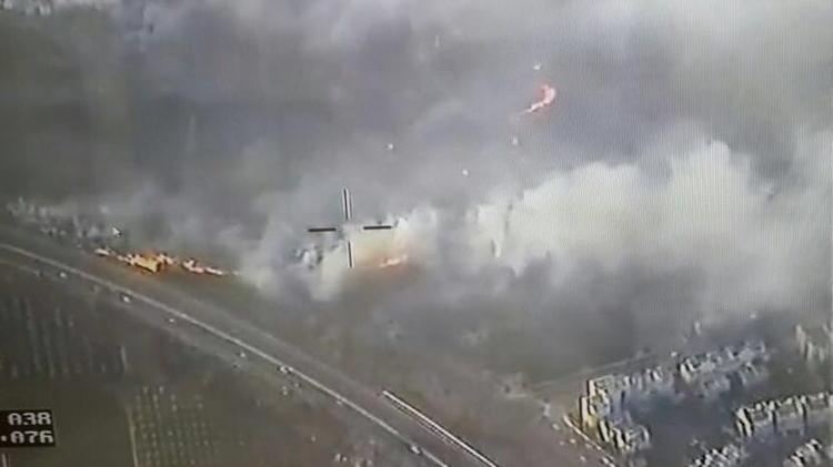 Vue aérienne sur les feux à proximité de Modi'in