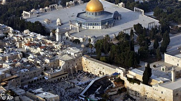 Vue aérienne du mont du Temple (esplanade des Mosquées pour les Musulmans) et du Mur des Lamentations (Kotel)