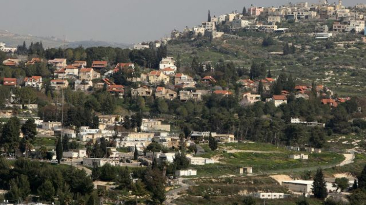A partial view of the Israeli settlement of Kedumim and the Palestinian village of Jeit, in the West Bank, February 9, 2015.