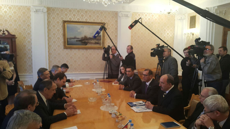 Israeli foreign ministry delegation led by Director General Dore Gold meets with Russian Foreign Minister Sergey Lavrov in Moscow on February 18, 2016