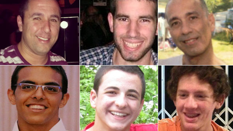 Top row, from left to right: Danny Gonen, Malachi Rosenfeld, Baruch Mizrahi. Bottom row: Eyal Yifrach, Gilad Sha'er and Naftali Frenkel. The six were killed in incidents involving Hamas members released as part of the Shalit deal.