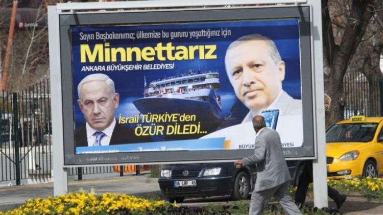 """Benjamin Netanyahu and Recep Tayyip Erdogan on a poster in Turkey after the Gaza flotilla incident"""