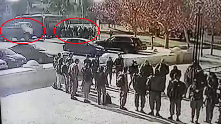 The moment before a truck rammed into a group of soldiers in Jerusalem captured on surveillance video in what is suspected to be a terror attack on January 8, 2017