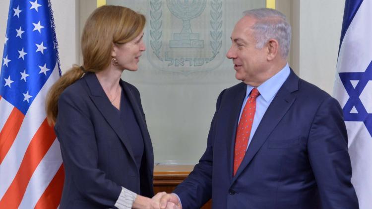 L'ambassadrice américaine aux Nations unies, Samantha Power avec le Premier ministre israélien Benyamin Netanyahou à Jérusalem le 15 février 2016