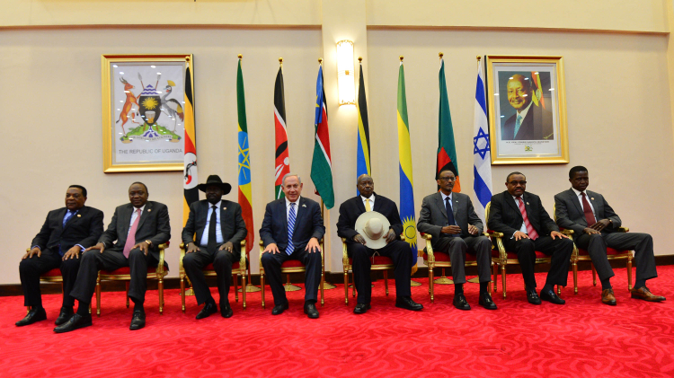 Israeli Prime Minister Benjamin Netanyahu and the leaders of seven African countries at the Uganda Regional Counterterrorism Summit on July 4, 2016
