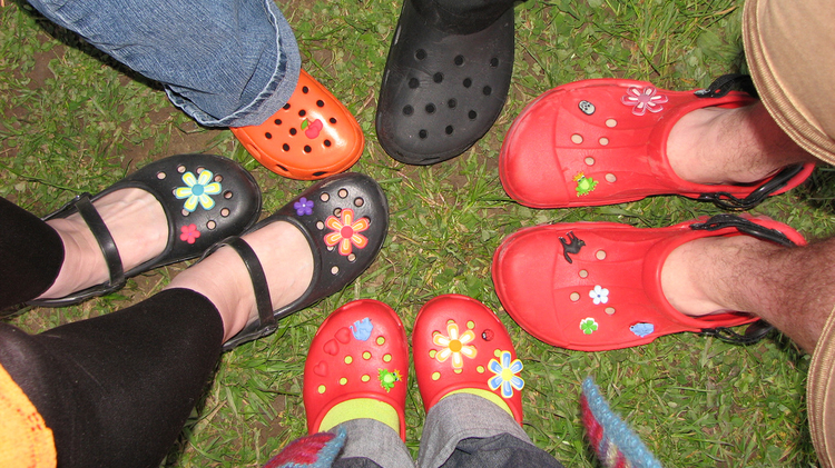 Colorful but a possible health risk. Many plastic clogs contain cancerous materials