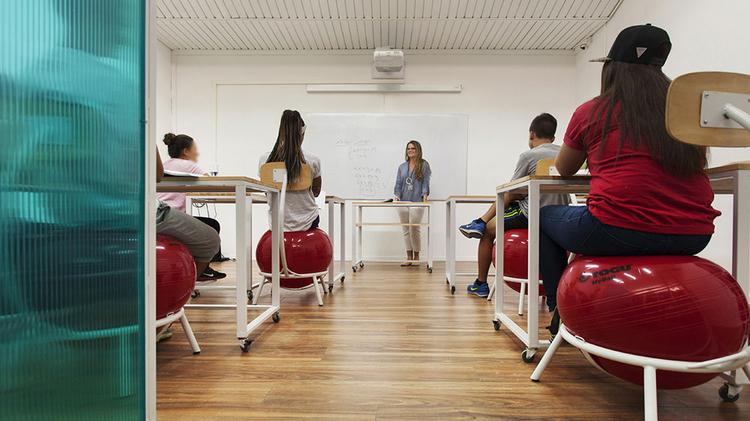 Innovative Classroom Yoga ~ Yoga balls and grass walls an experimental israeli