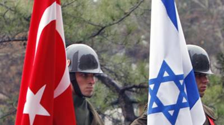 Soldiers with Israel, Turkish flags