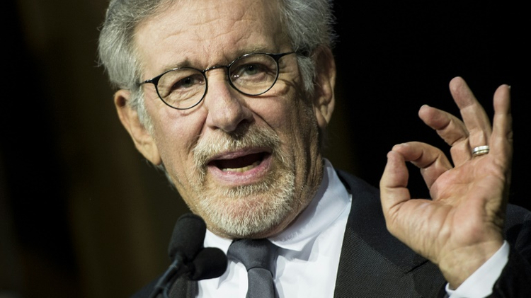 Director Steven Spielberg speaks during the University of Southern California Shoah Foundation Ambassadors for Humanity 20th anniversary dinner on May 7, 2014 in Los Angeles, California