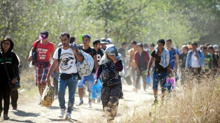 Des migrants traversent la frontière le 29 août 2015 à Gevgelija en Macédoine