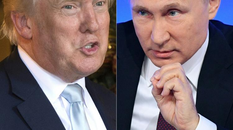 Combinaison des portraits de Donald Trump à Palm Beach, en Floride le 28 décembre 2016, et de celui de Vladimir Poutine, à Moscou le 30 décembre 2016