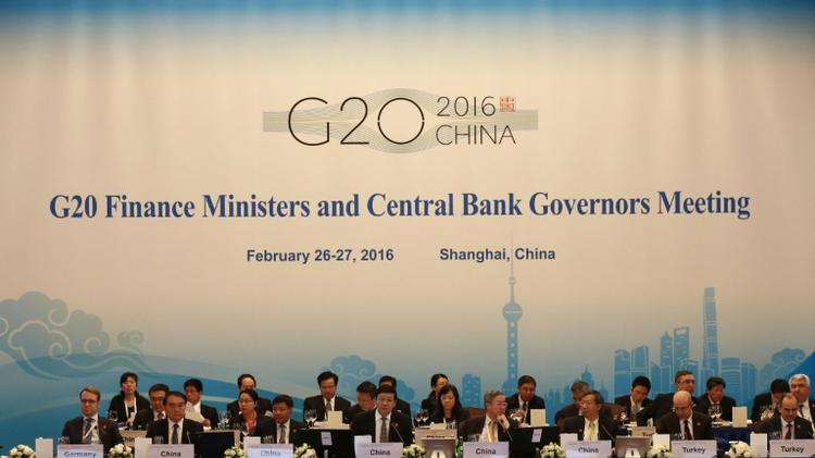Delegates attend the G20 Finance Ministers and Central Bank Governors Meeting in Shanghai on February 26, 2016
