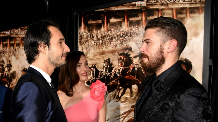(From L) Actors Rodrigo Santoro, Ayelet Zurer and Toby Kebbell arrive at the premiere of Paramount Pictures' 'Ben-Hur' at the Chinese Theatre in Los Angeles, on August 16, 2016